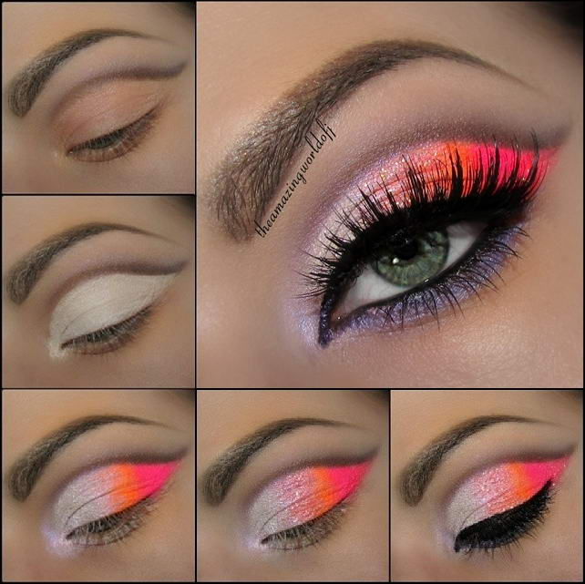 Stunning Neon Pink And Orange Eye Makeup Tutorial