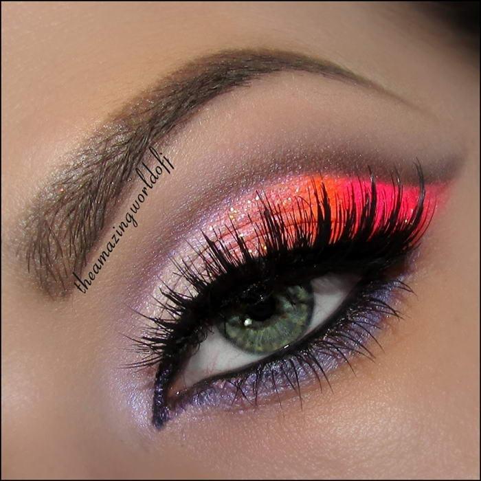 Stunning Neon Pink And Orange Eye Makeup Tutorial