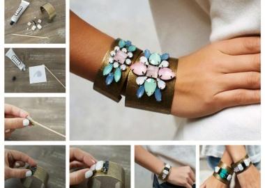diy gem embellished cuffs