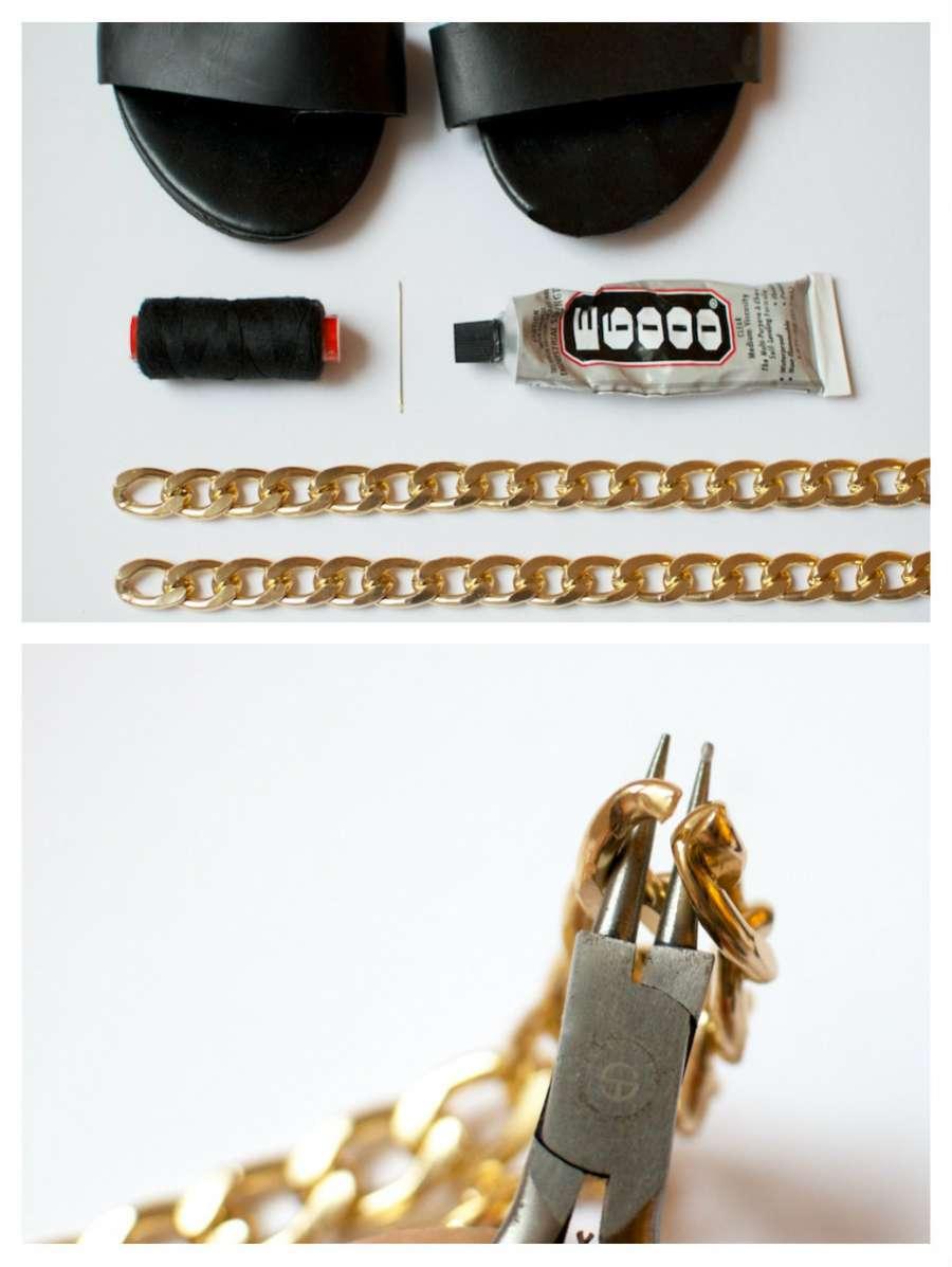 diy chain embellished sandals