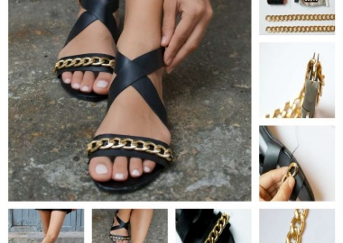 diy chain embellished sandals