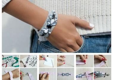 diy jeweled ribbon bracelet