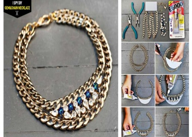 swarovski gem and chain necklace