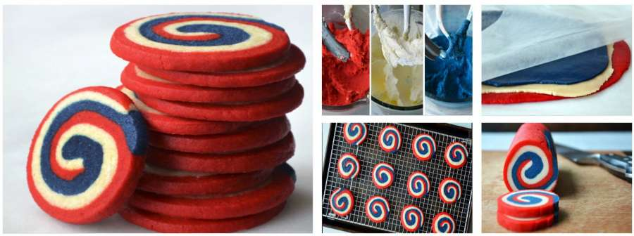 Red White And Blue Pinwheel Icebox Cookies
