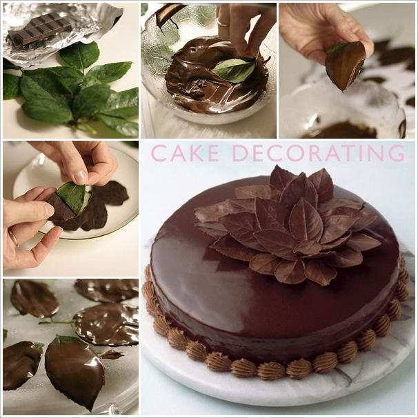 Cake Decorating Ideas Chocolate : Amazing Chocolate Leaves Cake Decoration Idea