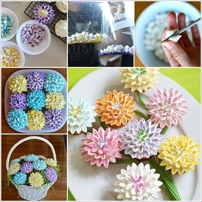 Cupcake Decorating Ideas With Marshmallows : Lovely Marshmallow Flower Cupcake Decorating Idea