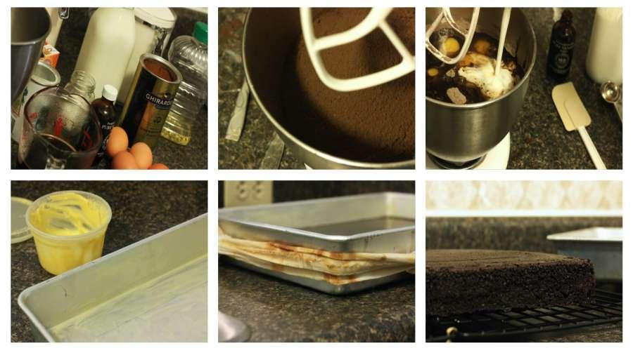 rick chocolate cake with raspberry buttercream