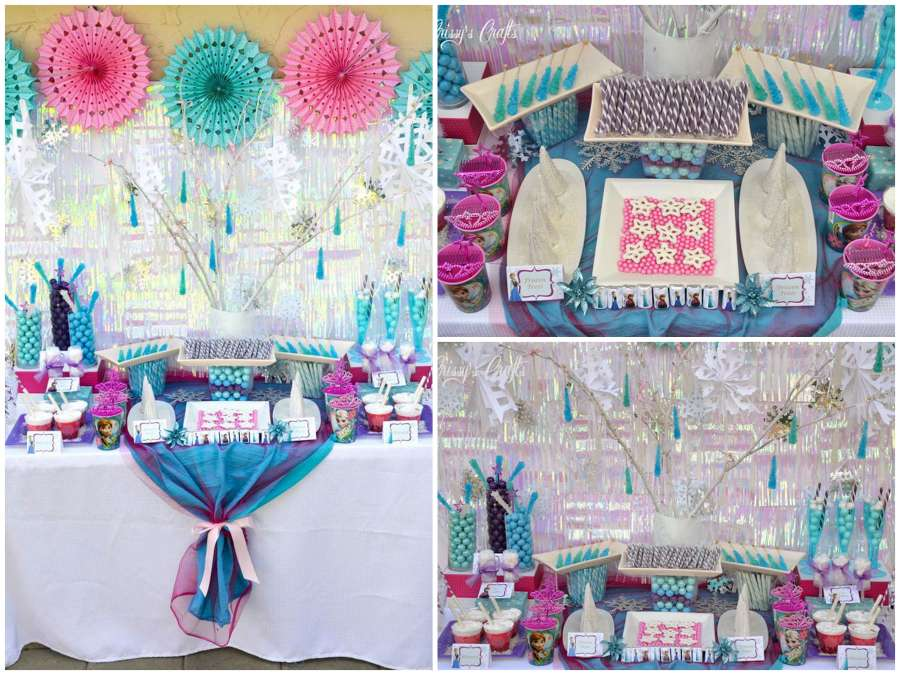 This is another candy table set up inspiration for the Frozen theme lovers. The entrance giveaways with Elsa crowns and magic wands would have given kids ...  sc 1 st  Stylish Board & Are You Planning For A Frozen Theme Birthday For Your Daughter