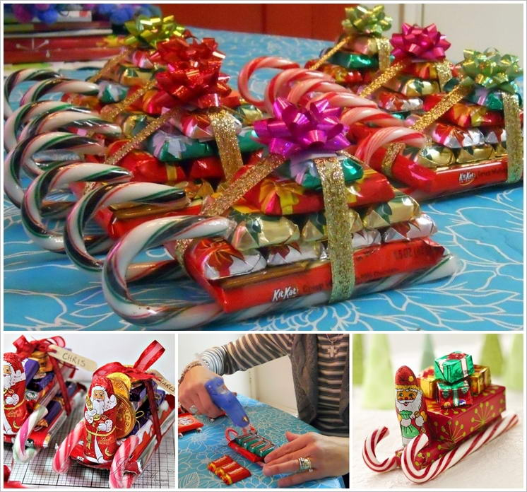 Make These Candy Cane Santa\'s Sleighs for Christmas Gifts