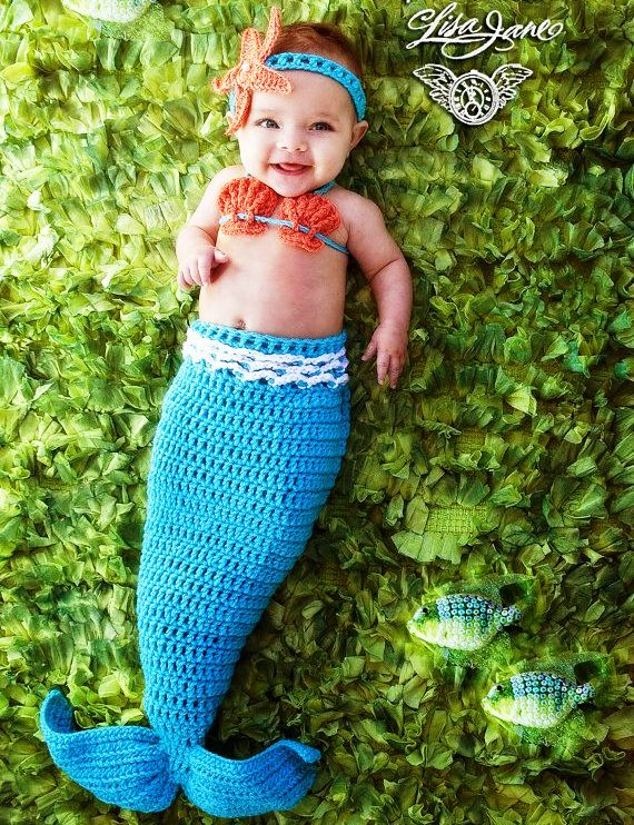 Crochet Pattern For Baby Mermaid Tail : 10 Baby Crochet Mermaid Costume For Your Princess!