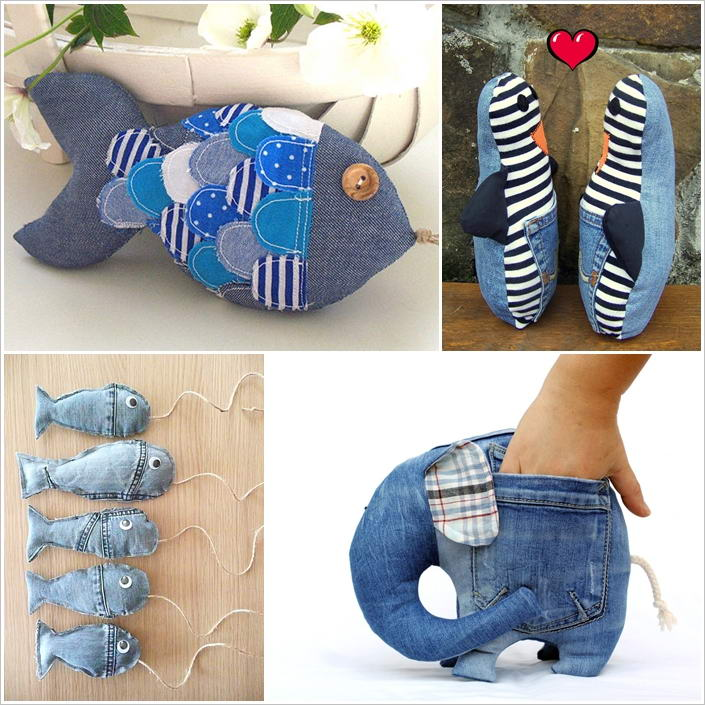 Recycle old jeans into some cute stuffed toys - How to reuse old clothes well tailored ideas ...