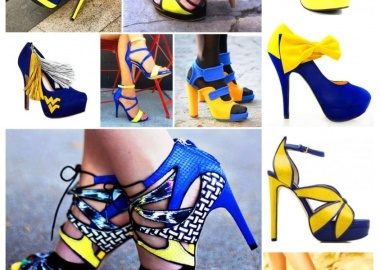 yellow and blue heels