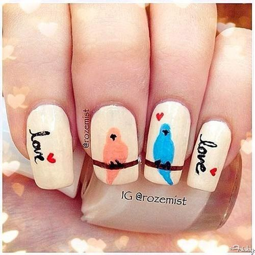 10 Love Bird Nail Arts For A Special Day