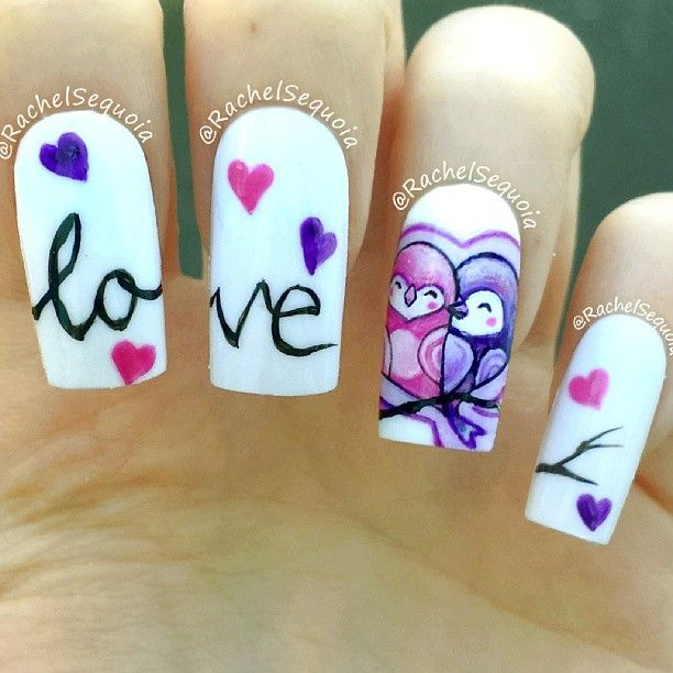 love bird nail art - 10 Love Bird Nail Arts For A Special Day!