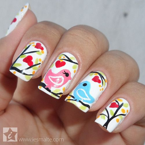 Love Birds Nail Art: 10 Love Bird Nail Arts For A Special Day