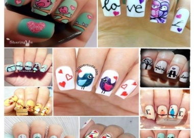love bird nail art
