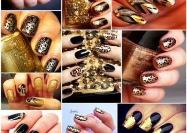 black and gold nail