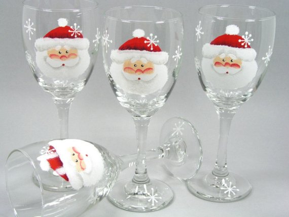 10 hand painted wine glass for christmas for Painted wine glasses