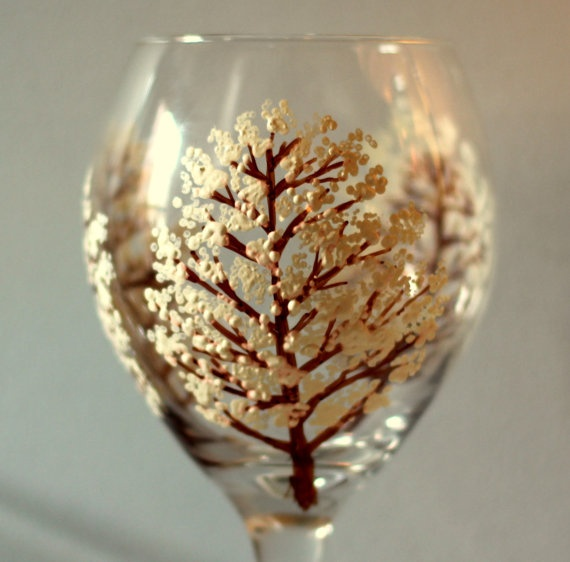 10 hand painted wine glass ideas with trees - Wine Glass Design Ideas