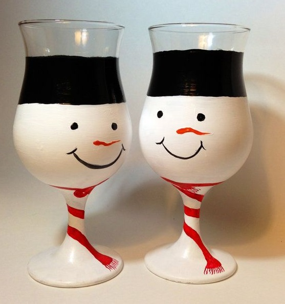 10 Hand Painted Wine Glass For Christmas