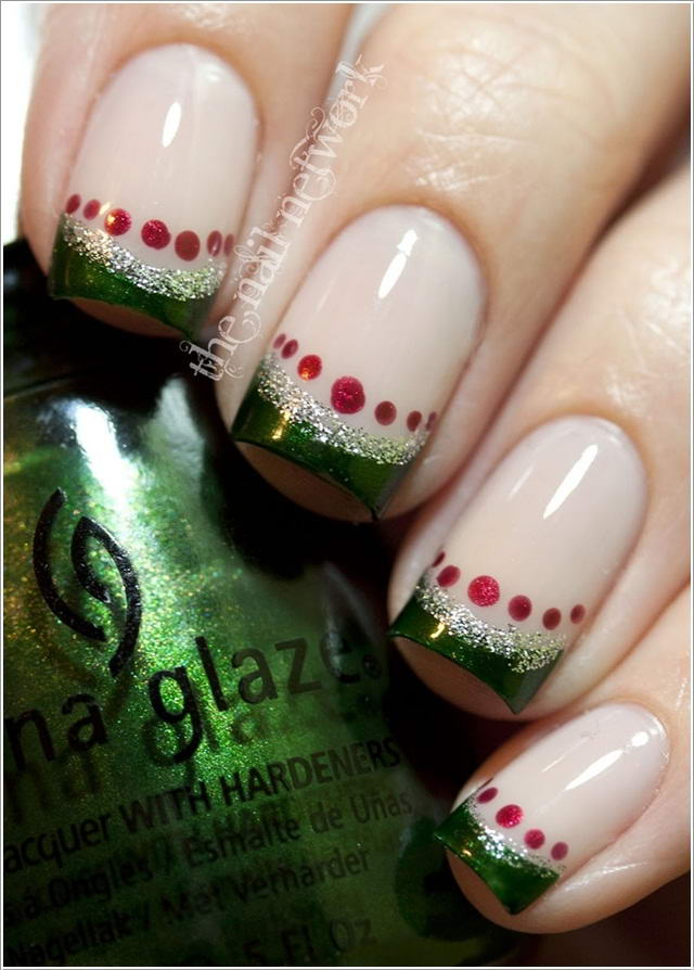 Fabulous Christmas French Tip Manicure Ideas