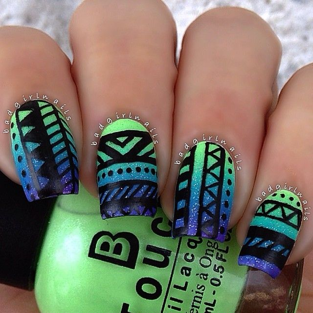 Blue and green nail arts