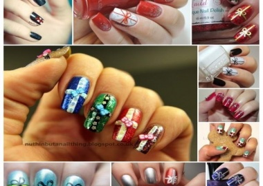 Christmas gift wrap nail arts