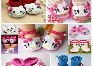 Hello kitty crochet shoes