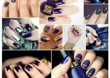 indigo and gold nail art