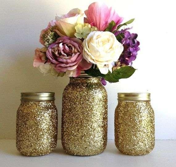 10 Glitter Mason Jar Vase Ideas For Your Home