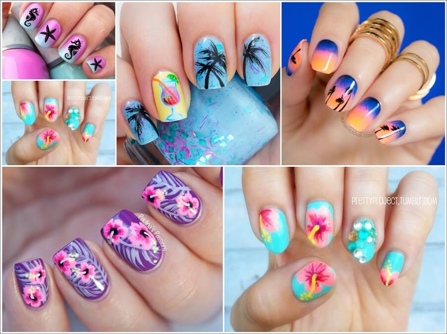 16 Cool And Chic Tropical Nail Art Ideas
