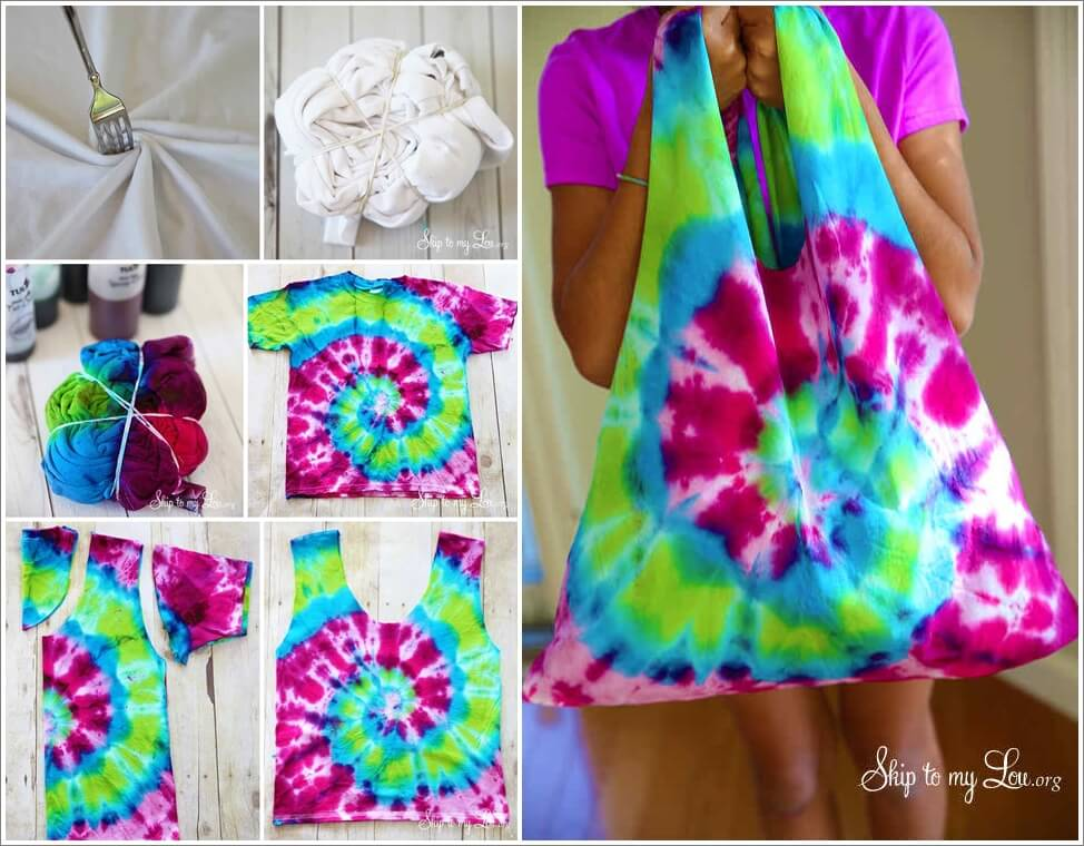 Make a cool tie dye bag from an old t shirt for Making a tie dye shirt