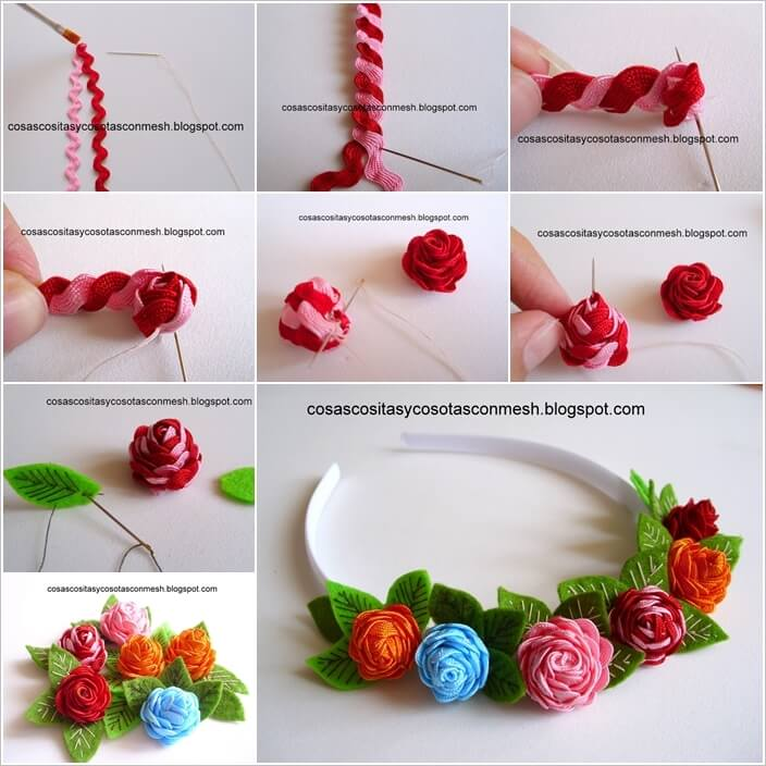 Decorate Your Headband with These Awesome Ric Rac Roses 1