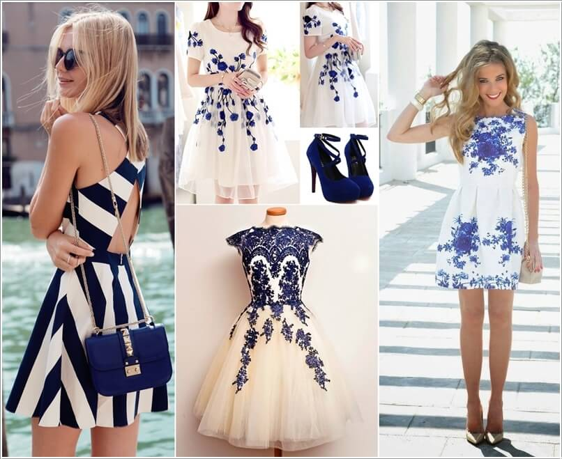 10 Super Stylish White and Blue Dresses a