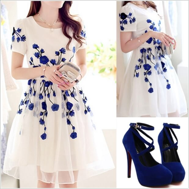 10 Super Stylish White and Blue Dresses 6
