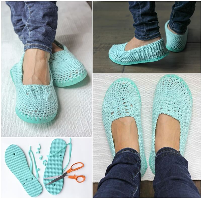 Make These Crochet Slippers with Flip Flops Soles 1