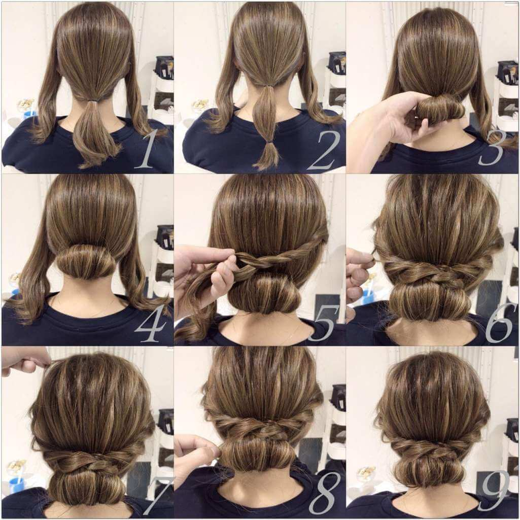Try This Chic Low Chignon with Braids 1