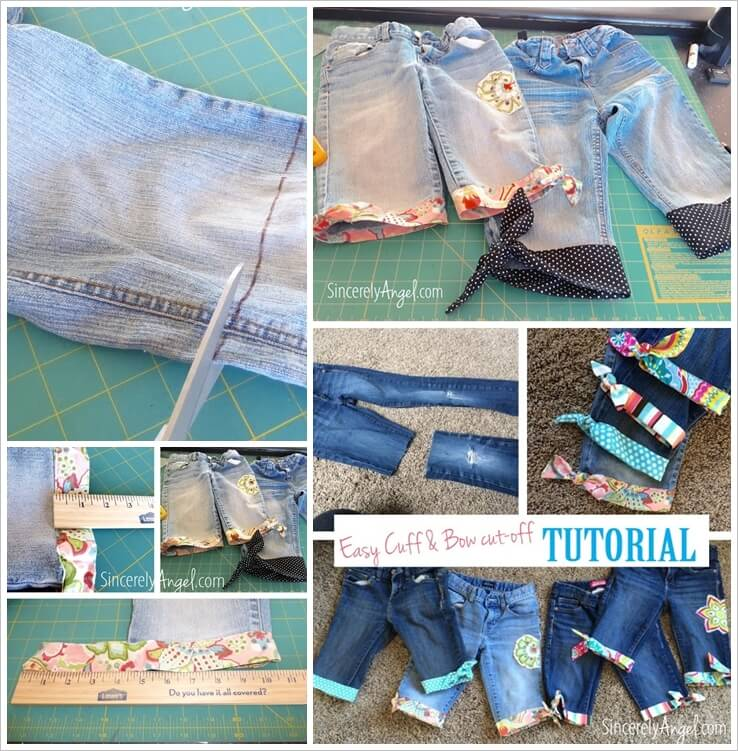 Turn Your Old Jeans into Bow Cuff Shorts